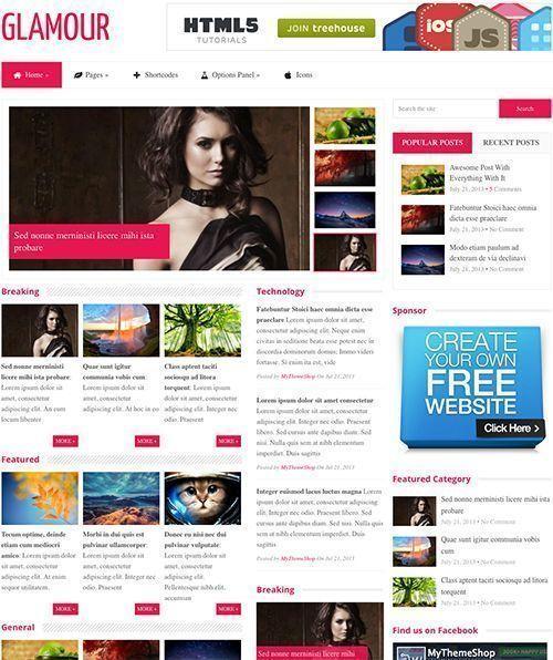 Glamour News Theme-Tema WordPress para periódicos y revistas