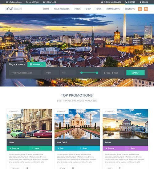 Love Travel - Tema WordPress para agencias de viajes