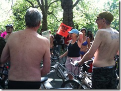 cyclists waiting to depart for naked bike ride in london