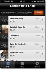 London Bike Shop iPhone app