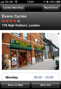 London Bike shop showing a listing