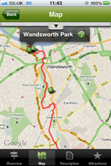 The Google map view of the London ride shows you the route as well as points of interest you can tap to bring out more details
