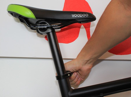 Tighten saddle on flat pack bike