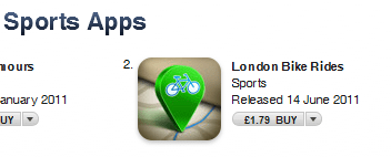 London Bike rides at number 2 in the app store