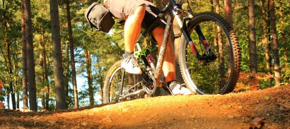 Mountain bike climbs uphill in Swinley Forest