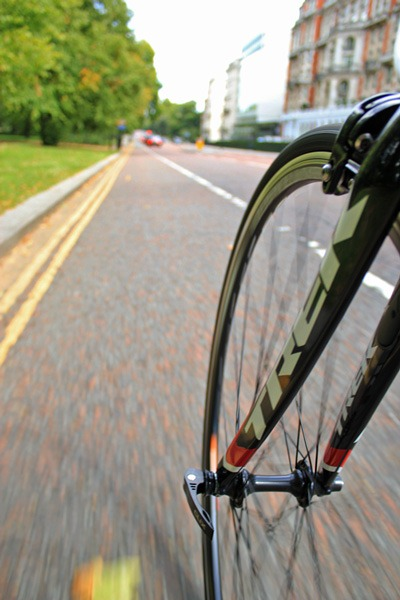 Road bike travelling at speed