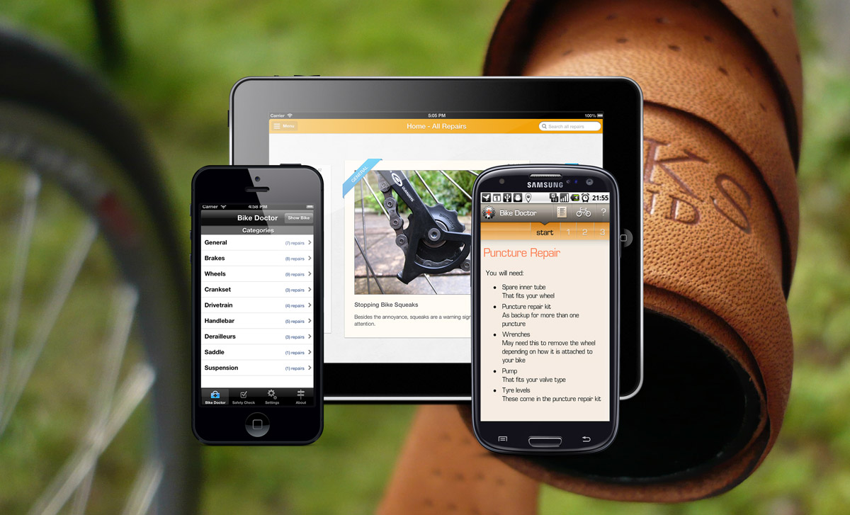 The Bike Doctor app is shown on the iPhone, iPad and Samsung Galaxy S3