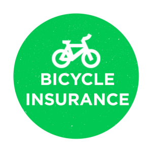Green circle with a bicycle inside and the words bicycle insurance in capitals