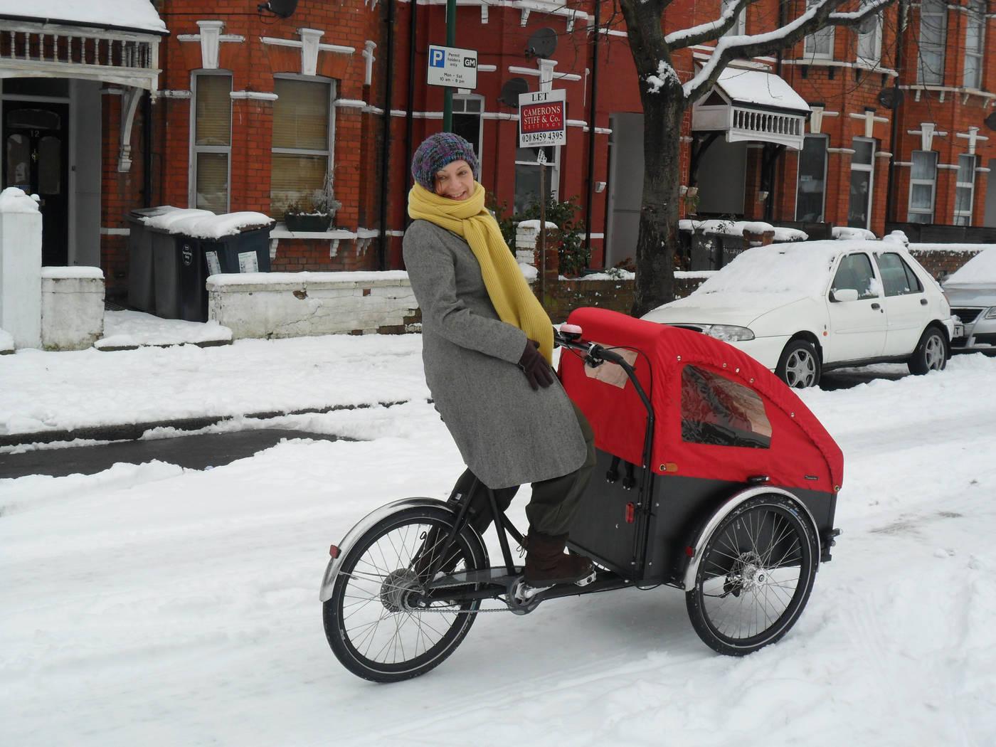 Snow on a christiania cargo bike