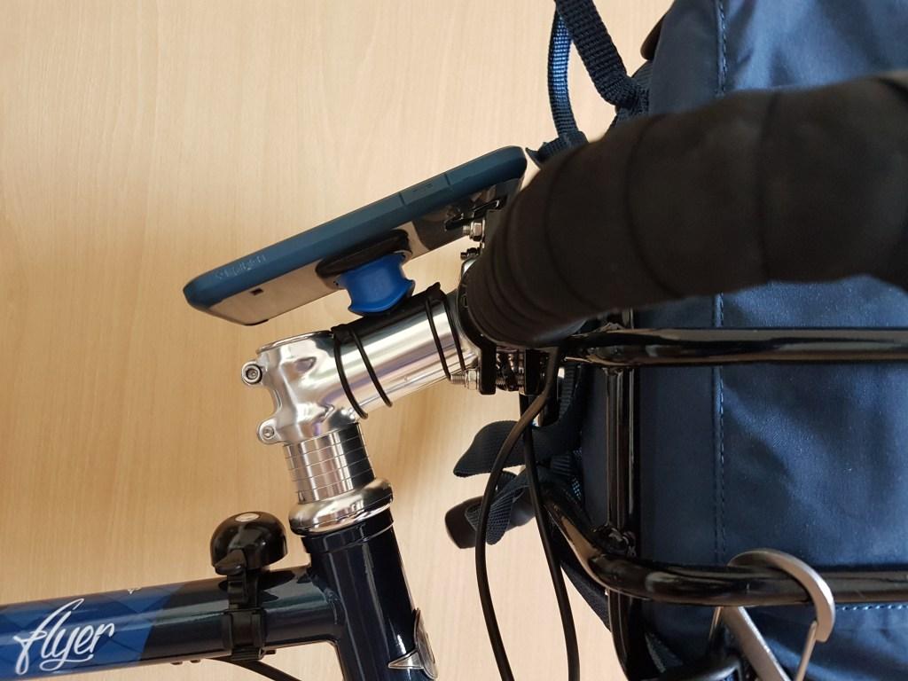 Phone mounted on bike