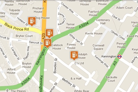 Kennington Pub Crawl Map