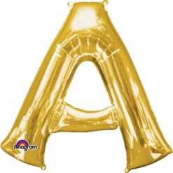 "Gold Supershape Letter A 34"" Helium Filled foil Balloon"