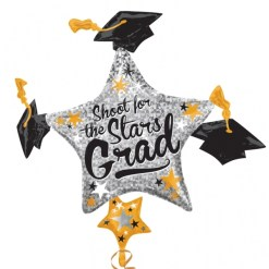 Grad Cap Cluster Supershape Helium Filled Foil Balloon