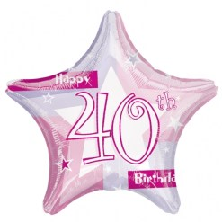 "Pink Shimmer 40th Birthday 18"" Helium Filled Foil Balloon"