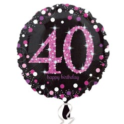 "Sparkling Celebration Black & Pink 40th Birthday 18"" Helium Filled Foil Balloon"
