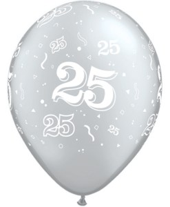"10 25th Birthday 11"" Silver  Helium Filled Balloons"