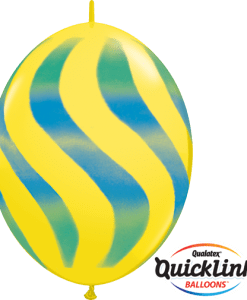 10 Yellow Wavy Stripes Green & Blue  helium filled linking balloons