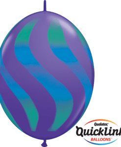 10 Violet Wavy Stripes Green & Blue  helium filled linking balloons