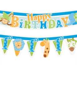 1st Birthday Blue Safari Cake Banner at London Helium Balloons