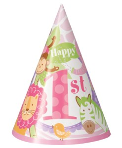1st Birthday Pink safari Pack of 8 Hats at London Helium Balloons