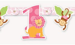1st Birthday Pink Safari Cut out Banner at London Helium Balloons