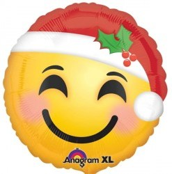 "Santa Hat Smiley Face 18"" Helium filled Foil Balloon delivered in London"