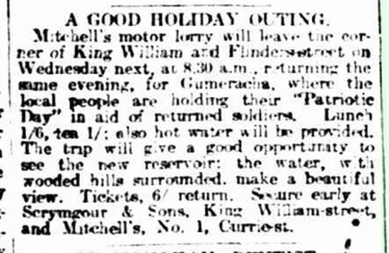 GENERAL NEWS. (1918, October 4). The Advertiser (Adelaide, SA : 1889 - 1931), p. 7. Retrieved August 21, 2016, from http://nla.gov.au/nla.news-article5595919