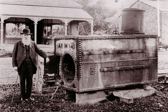 William Richard Randell and boiler of PS Mary Ann at Mannum, South Australia