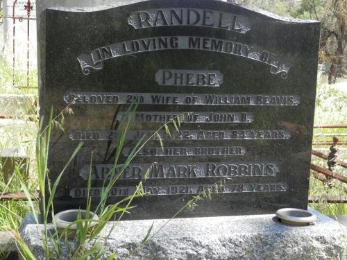 Phebe Randell (nee Robbins) grave, Gumeracha