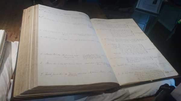 one of the original ledger books from the Desitute Asylum