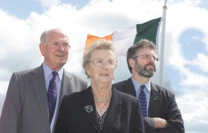 Kieran Doherty's parents Alfie and Margaret with Sinn Fein president Gerry Adams.