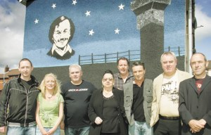 Top from left, Michael Devine's children Michael Og and Louise, former blanketman Dixie Elliott, Patsy O'Hara's mother Peggy O'Hara and the hunger striker's brother Tony O'Hara, Willie Gallagher of the IRSP, Richard O'Rawe and former hunger striker Gerard Hodgins.