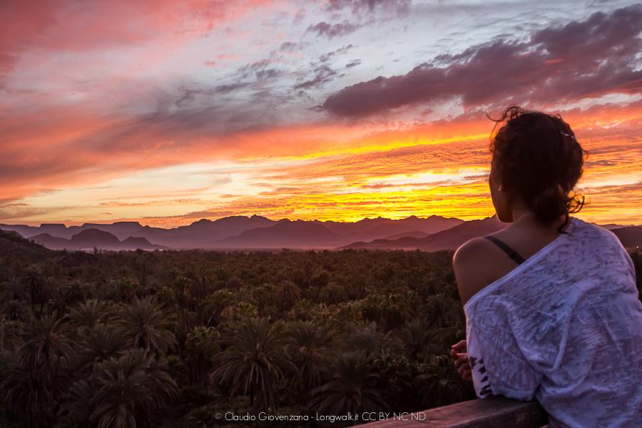 Ragazza che guarda un tramonto con palme tropicali
