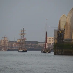 Sept - Tall ship sailing through barriers