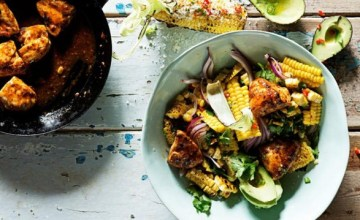 Recipe 2, Corn and Avocado Salad with Glazed, Hot Chicken