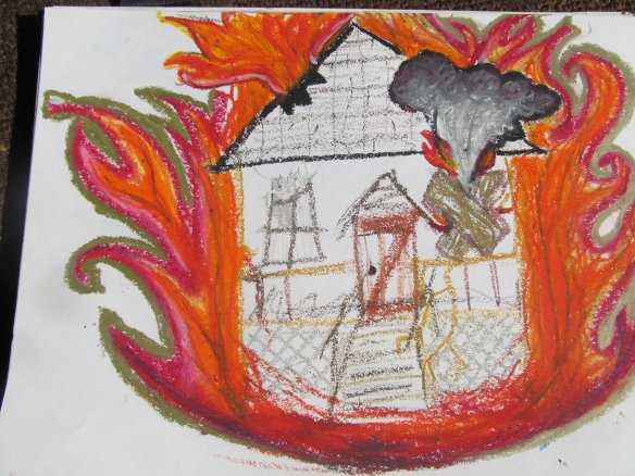 A drawing of a burning house