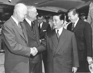 President Ngo Dinh Diem, shaking hands with Eisenhower