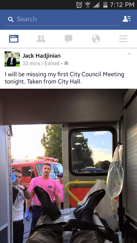 Mayor Hadjinian in the ambulance after fainting during  last night's City Council meeting