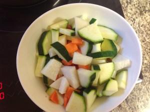 las verduras cortadas y lavadas