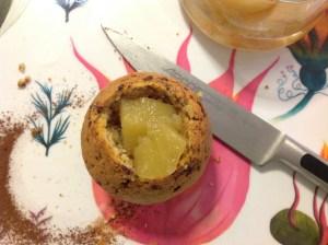 Muffin relleno de manzana
