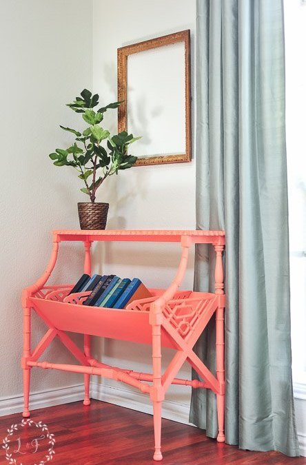 Vintage Library Table Makeover | Fusion Mineral Paint Coral