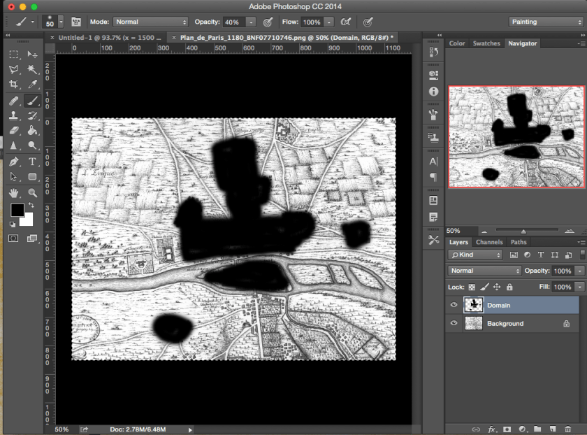 Surface area of an irregular shape in Photoshop: Domain area