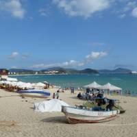 Sanya's Dadonghai Beach, popular with Russian tourists.
