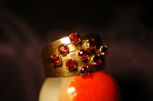 Beautiful Gold Ring with Nine Rubies