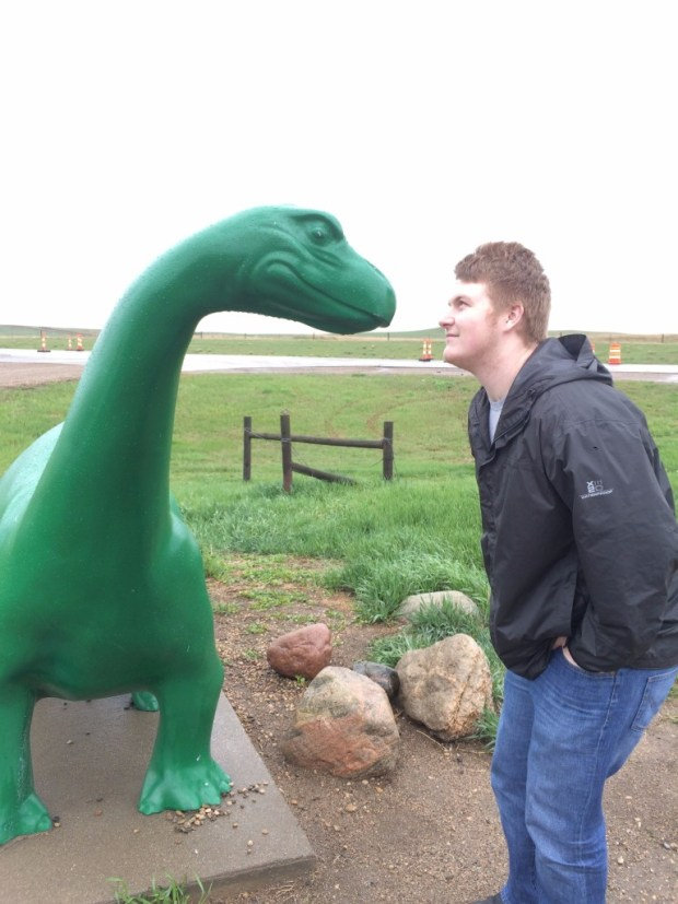 Alex and this wonderful Dino was an actual pit stop to get gas when we saw this guy and just had to take pics.