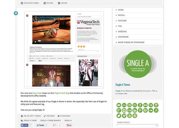 Single A free tumblr theme