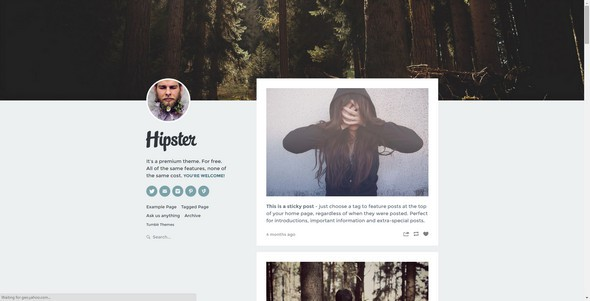 Hipster tumblr free theme