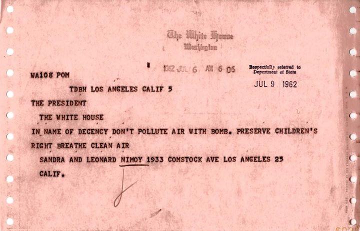 telegram to JFK from Nimoy