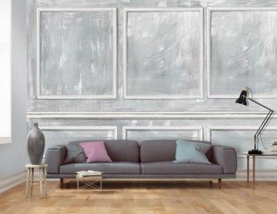Wall panel effect wallpaper in grey.