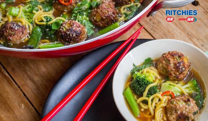 sesame pork meatball chilli soup with broccoli